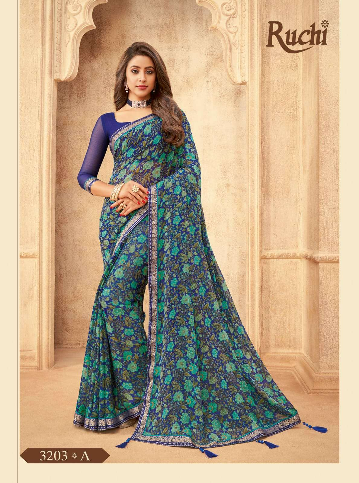 RUCHI VAANI CHIFFON WITH ATTACHED BORDER SAREE COLLECTION 02