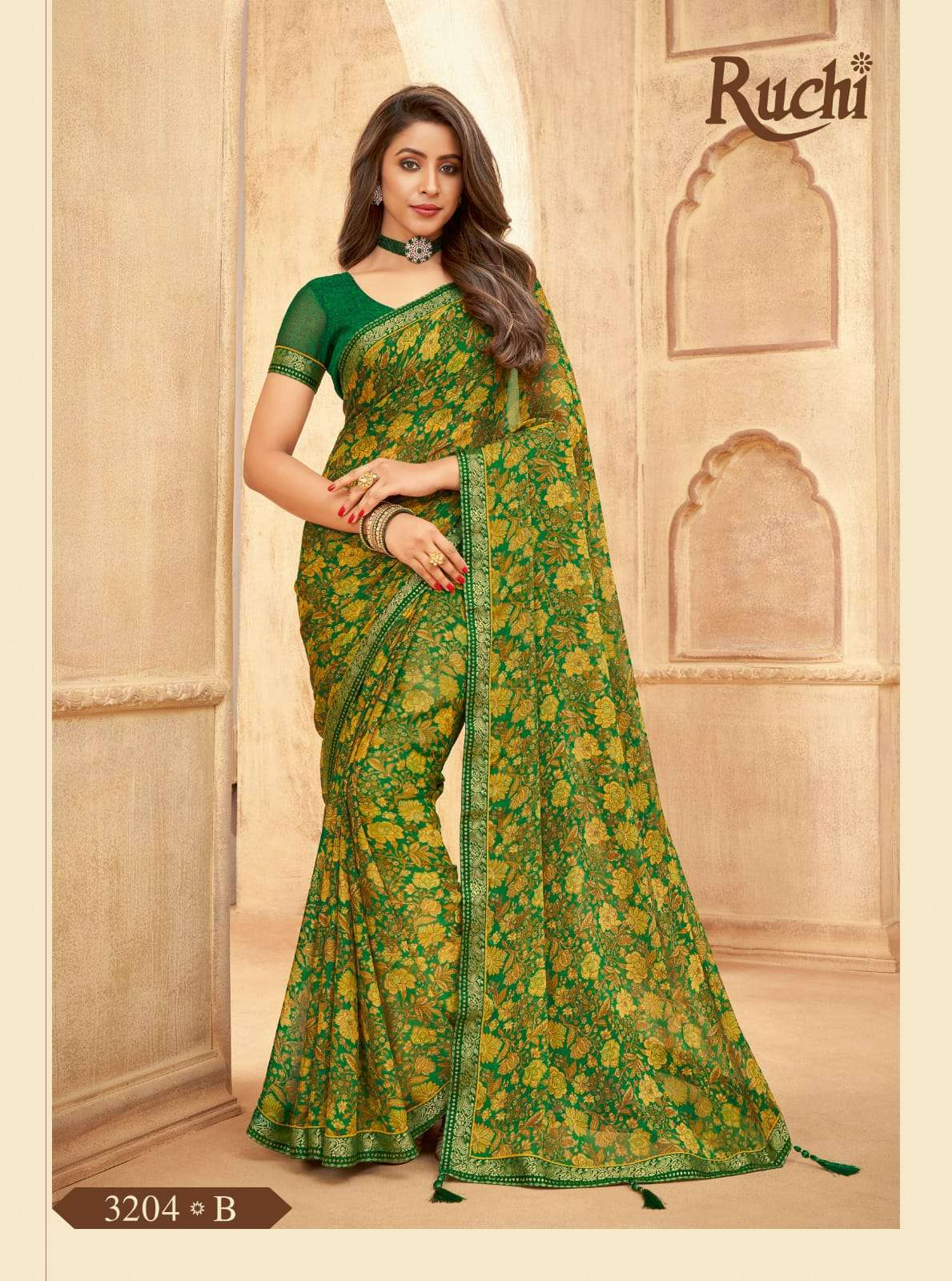 RUCHI VAANI CHIFFON WITH ATTACHED BORDER SAREE COLLECTION 03