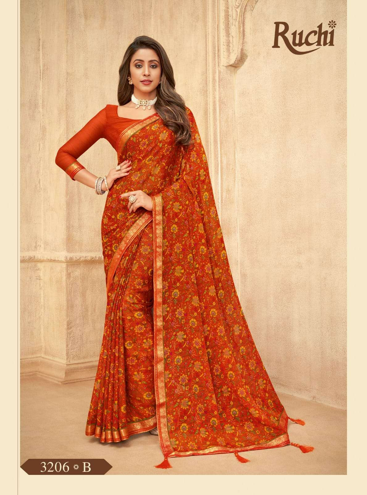 RUCHI VAANI CHIFFON WITH ATTACHED BORDER SAREE COLLECTION 04