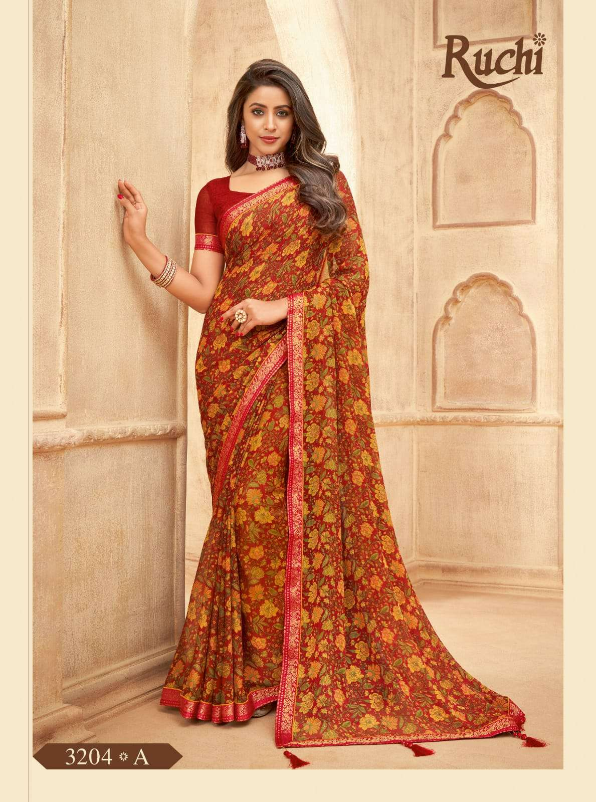 RUCHI VAANI CHIFFON WITH ATTACHED BORDER SAREE COLLECTION 05