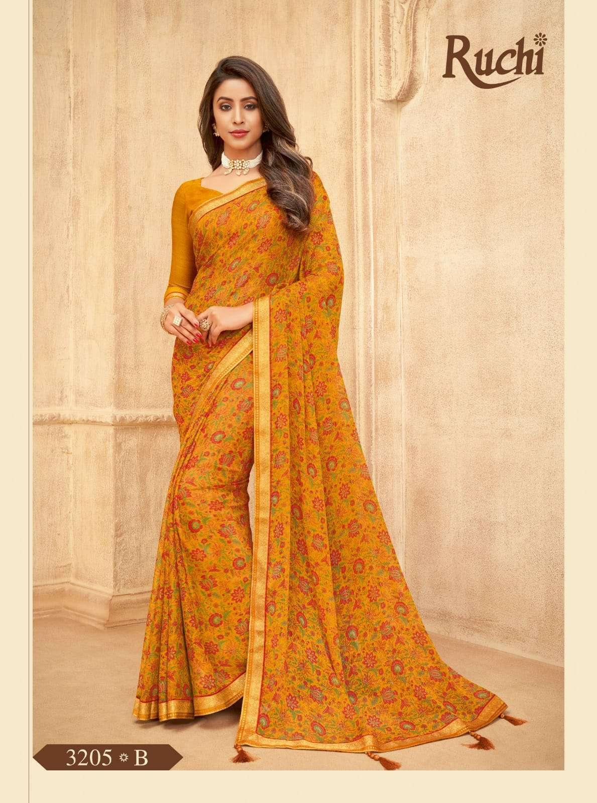 RUCHI VAANI CHIFFON WITH ATTACHED BORDER SAREE COLLECTION 06