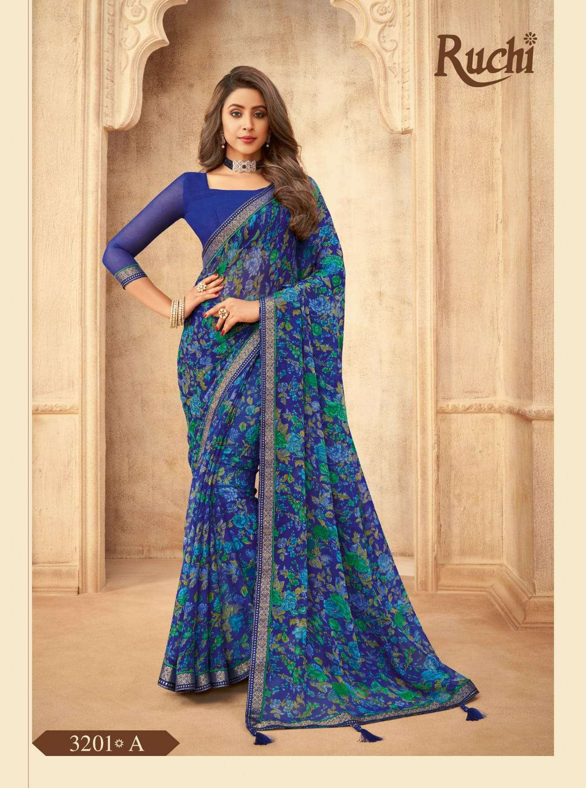 RUCHI VAANI CHIFFON WITH ATTACHED BORDER SAREE COLLECTION 07