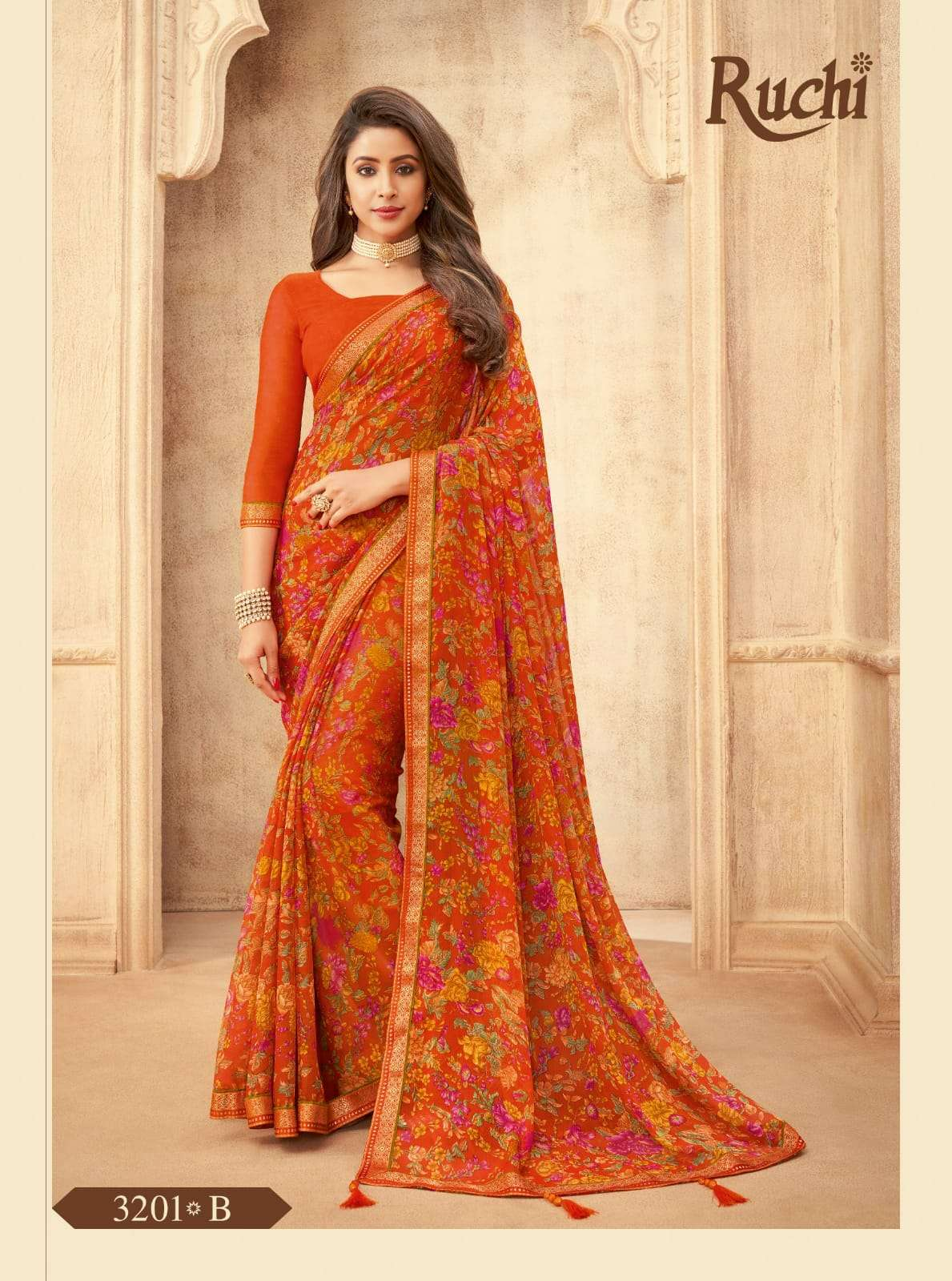 RUCHI VAANI CHIFFON WITH ATTACHED BORDER SAREE COLLECTION 08