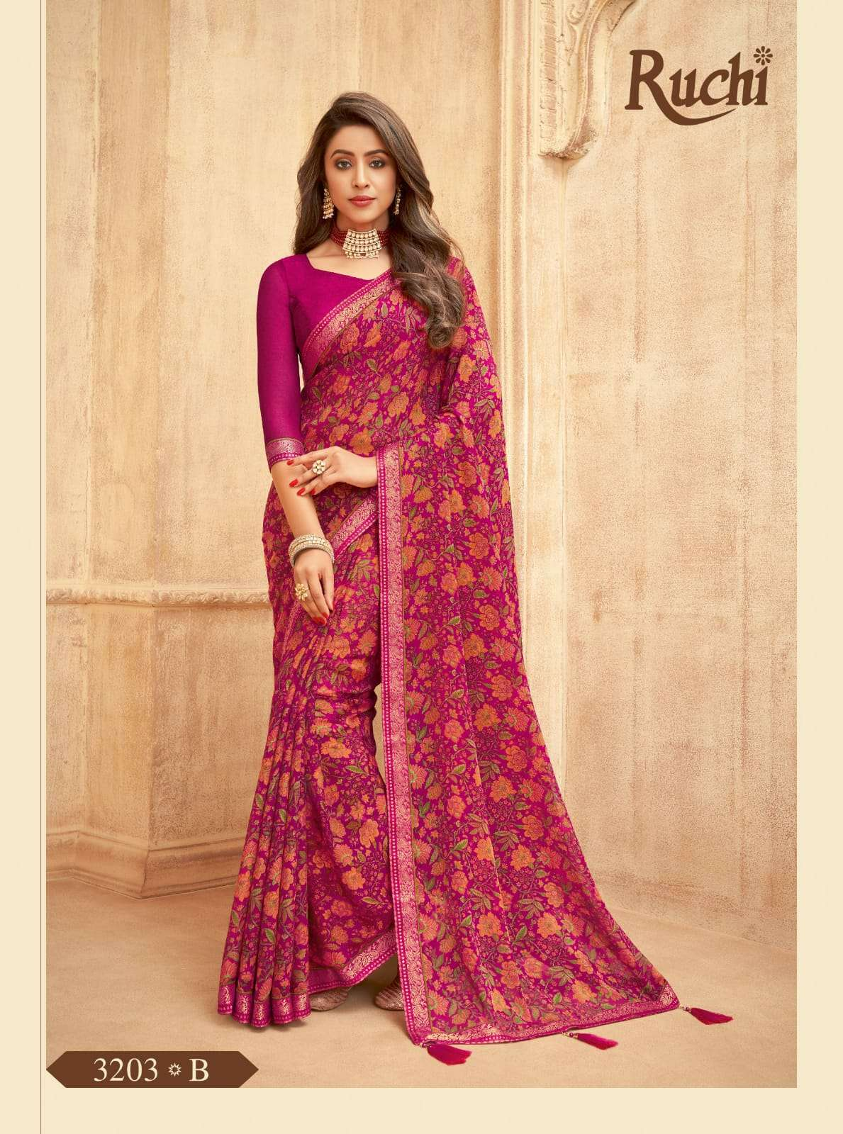 RUCHI VAANI CHIFFON WITH ATTACHED BORDER SAREE COLLECTION 09