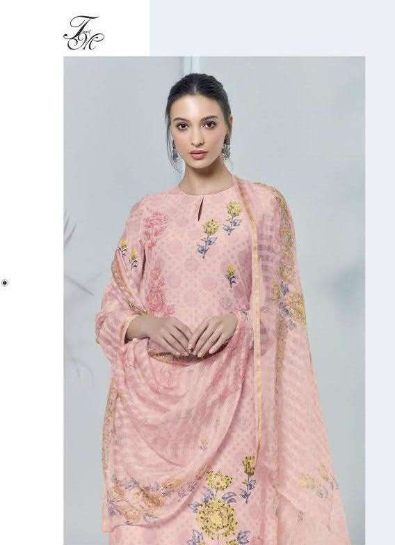 Sahiba T & M Mosaic Pure Bali silk With Embroidery Work Dress Material Collection