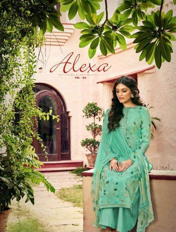 Sangam Prints Alexa Vol 4 Muslin Silk Foil Print With Embroidery Work Dress Material Collection