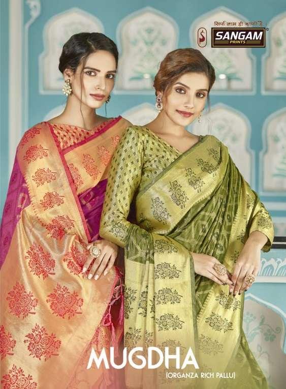 Sangam prints Mugdha Organza Weaving Sarees collection