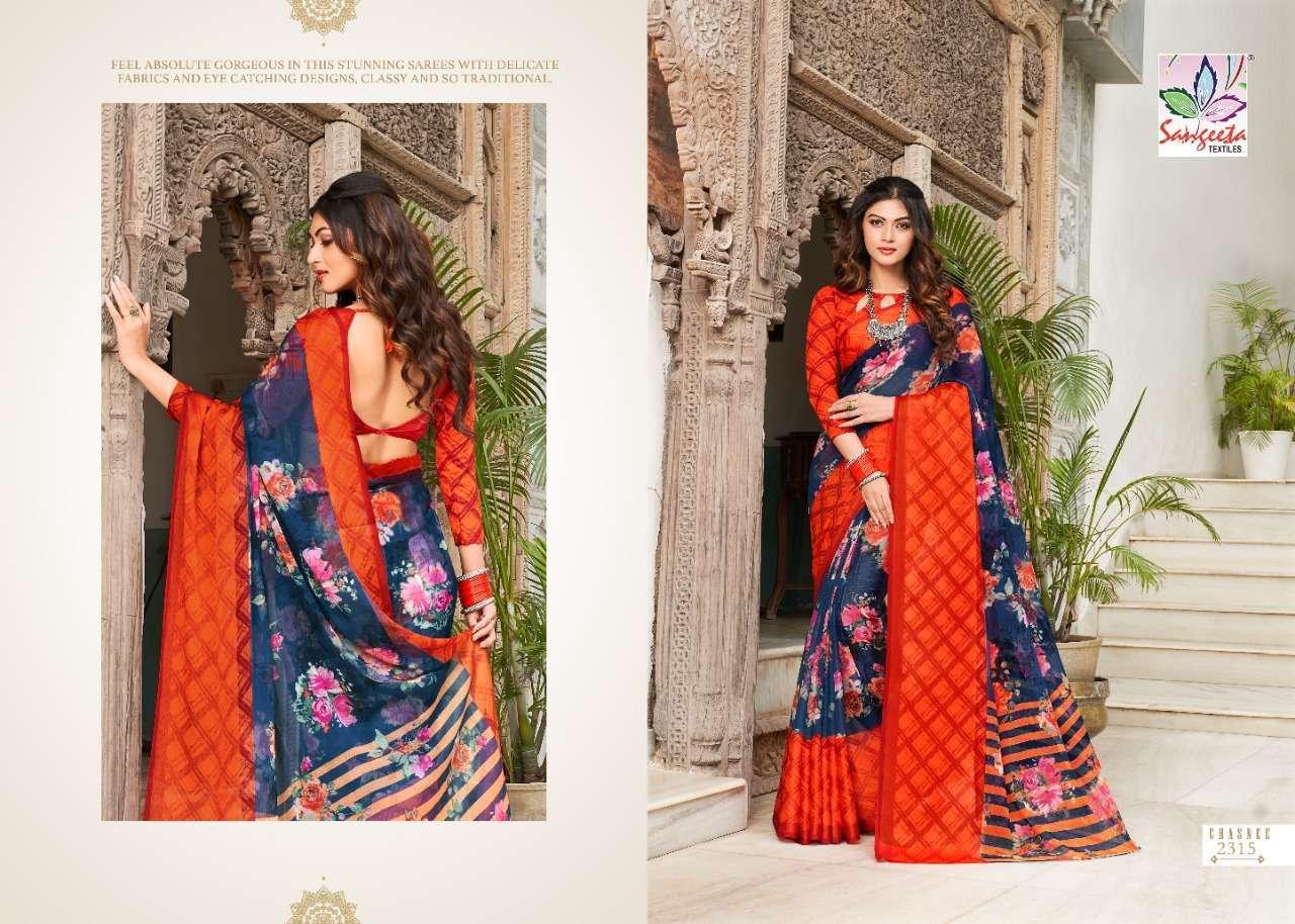 Sangeeta Chasnee Chiffon Printed With Viscose Border Sarees Collection 01