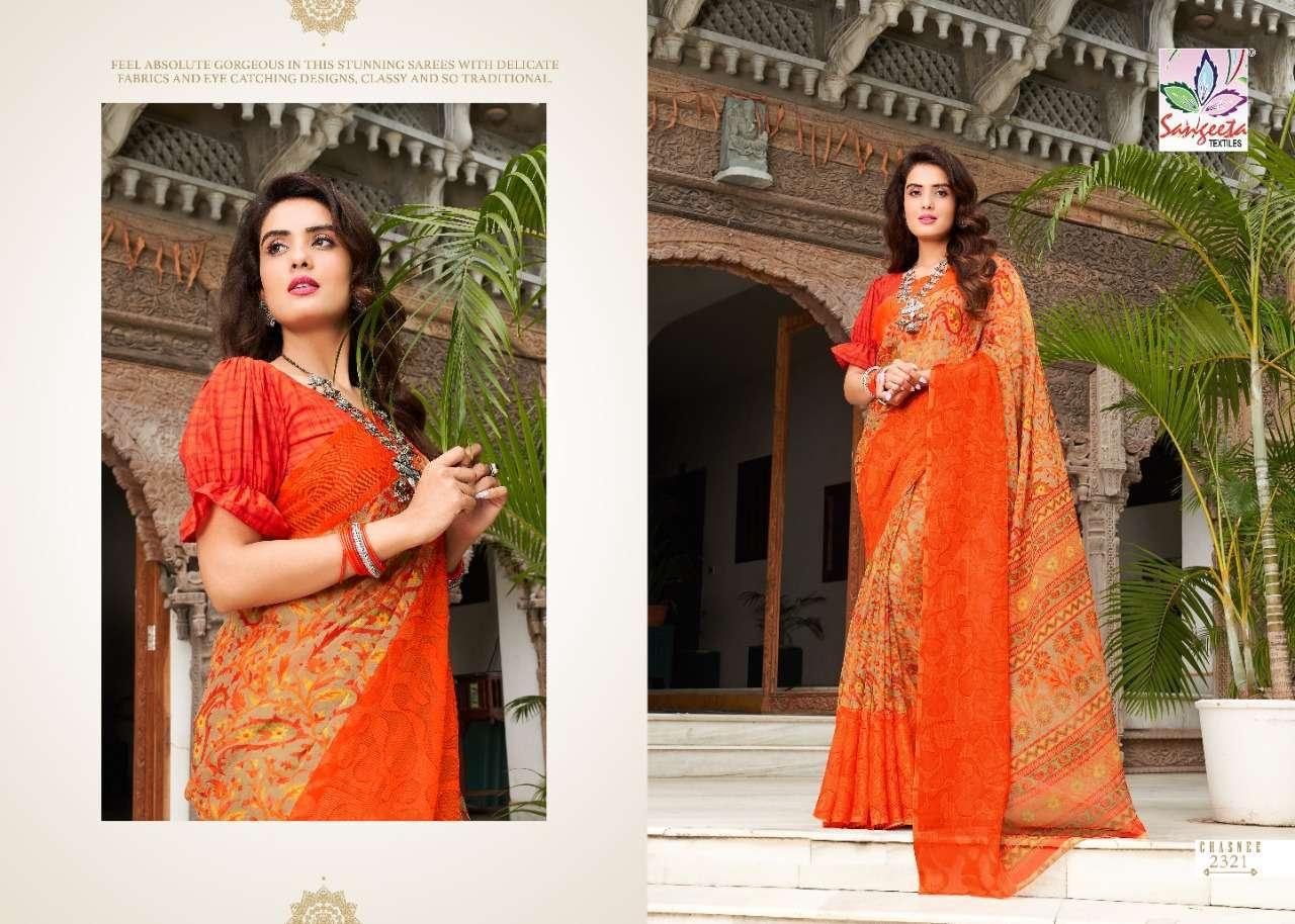 Sangeeta Chasnee Chiffon Printed With Viscose Border Sarees Collection 04