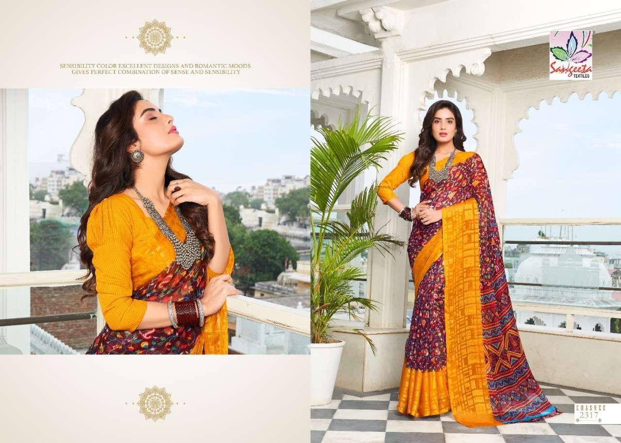 Sangeeta Chasnee Chiffon Printed With Viscose Border Sarees Collection 07