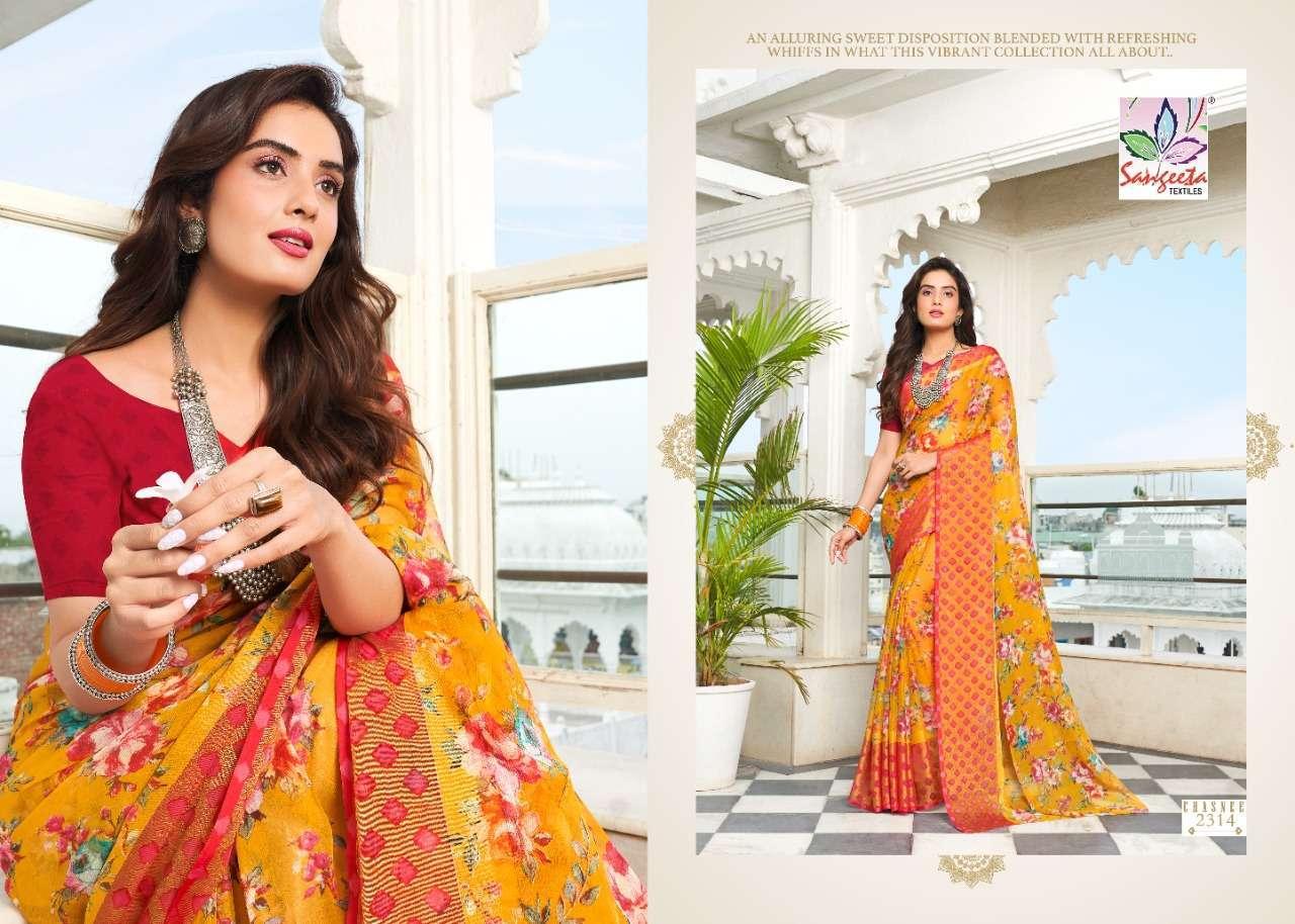 Sangeeta Chasnee Chiffon Printed With Viscose Border Sarees Collection 08