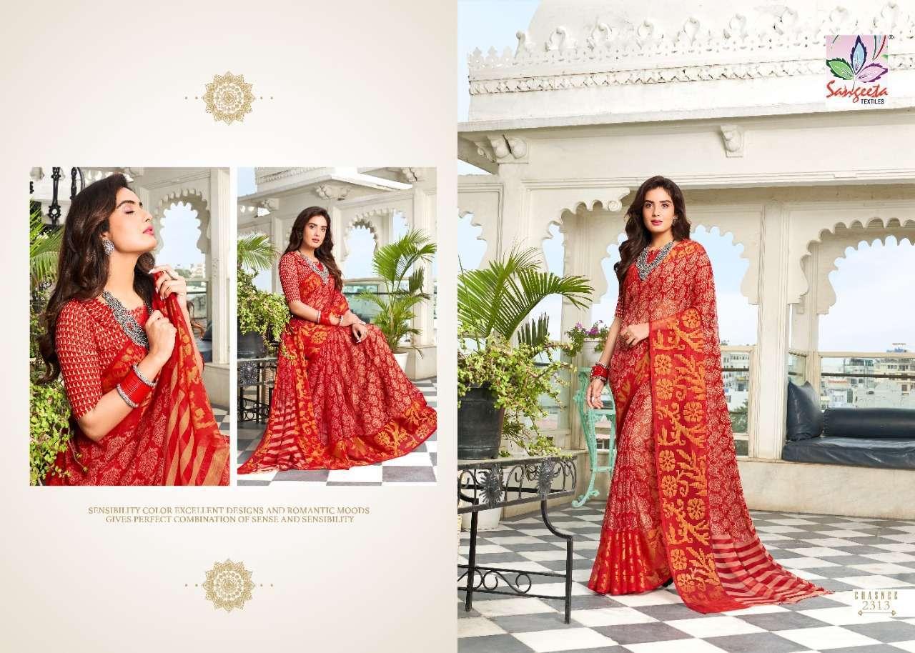 Sangeeta Chasnee Chiffon Printed With Viscose Border Sarees Collection 09