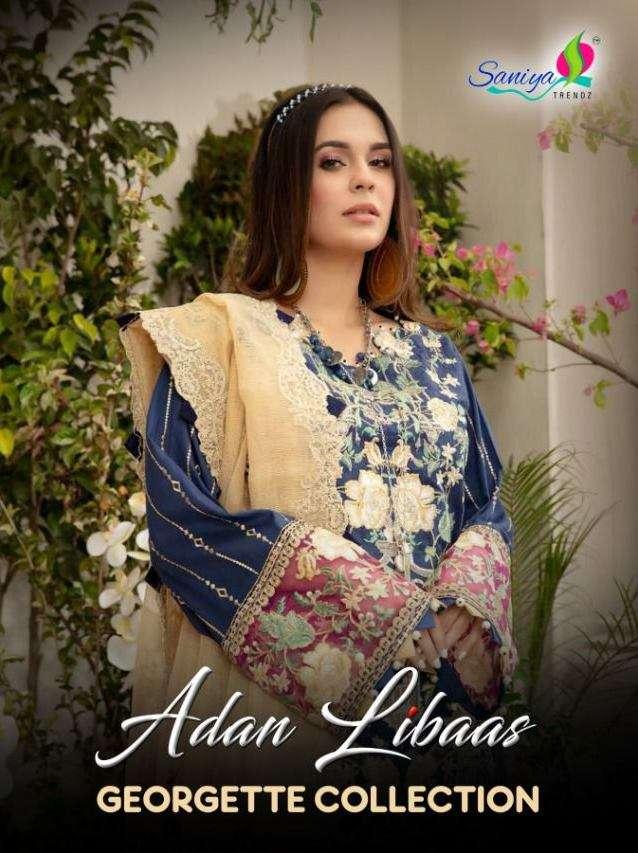 Saniya Trendz adab Libaas Georgette Collection With Chicken Kari Work Pakistani Suits Collection