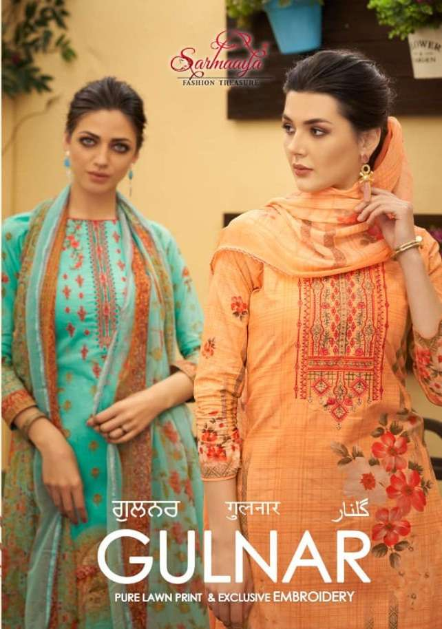 Sarmaaya tex fab Gulnar Pure lawn Cotton With Embroidery Work Dress Material Collection