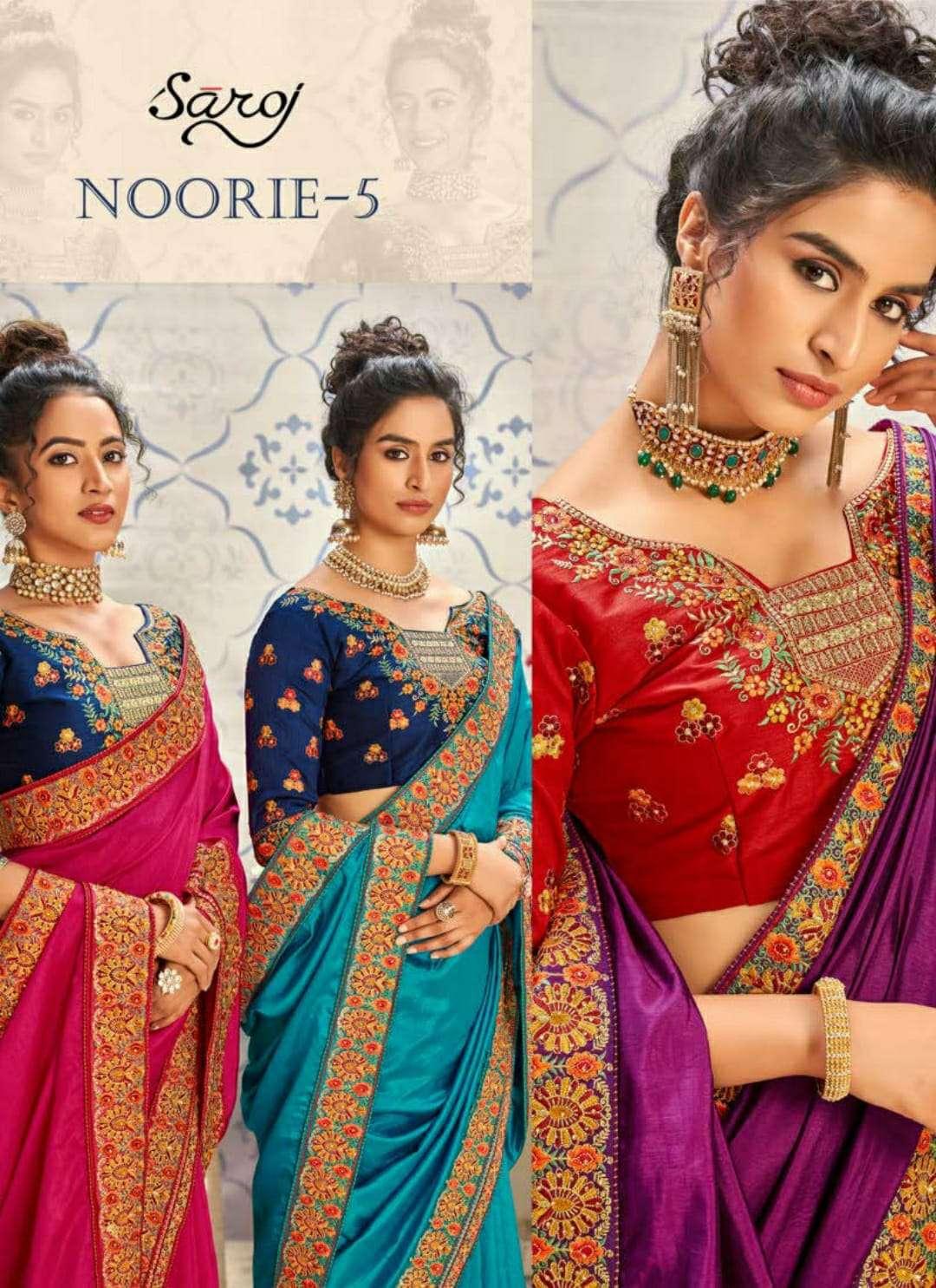 Saroj Noorie Vol 5 Dupion Silk With embroidery Work Sarees Collection