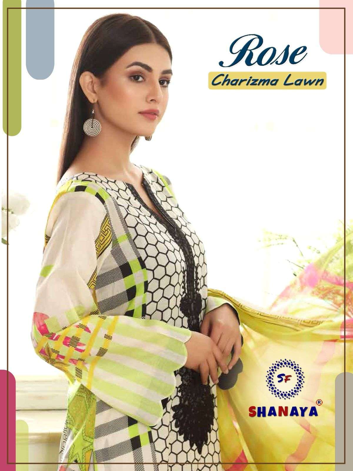 Shanaya Rose Charizma Lawn Cambric Digital Print With Embroidery Work Pakistani Suits Collection