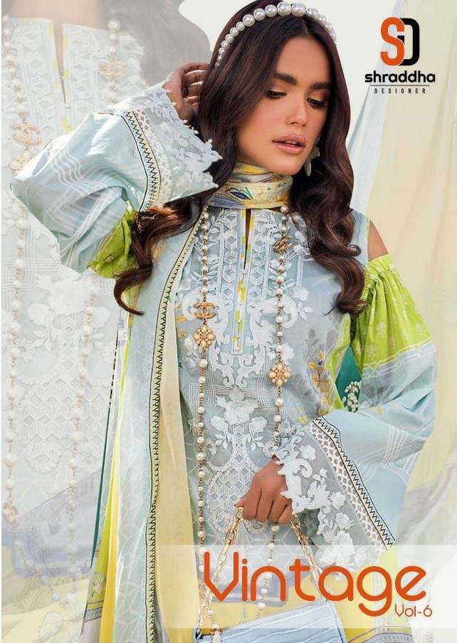 shraddha Designer Vintage Vol 6 Lawn Cotton Print With Embroidery Work Pakistani Suits Collection
