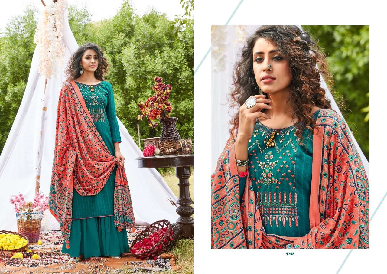 Siddhi Sagar Ajrakh Pashmina Print With Fancy Embroidery Work Dress Material Collection 01