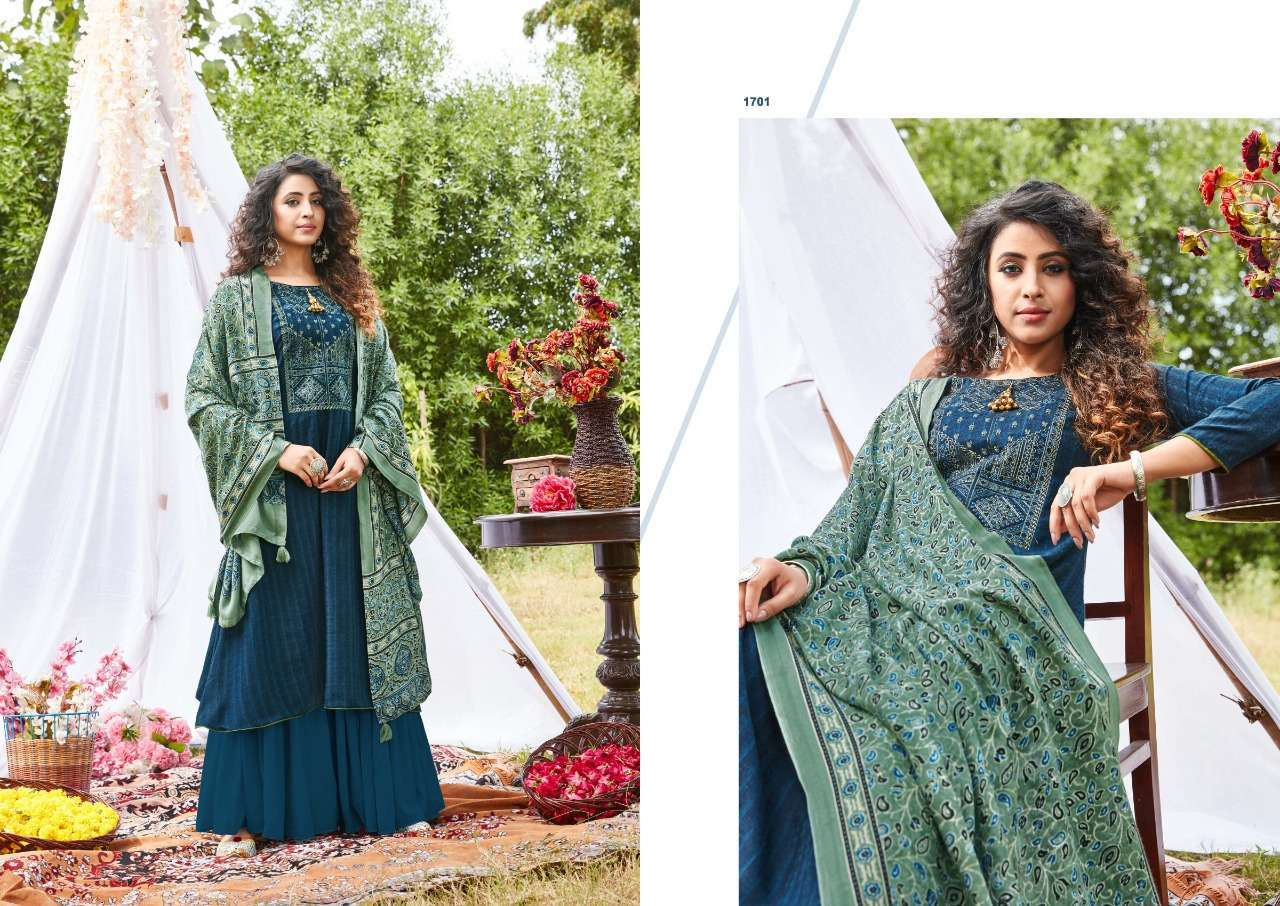 Siddhi Sagar Ajrakh Pashmina Print With Fancy Embroidery Work Dress Material Collection 02