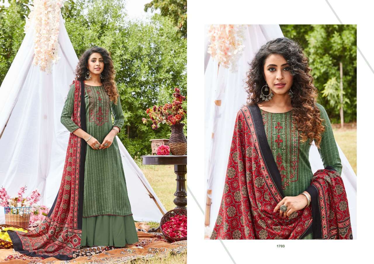 Siddhi Sagar Ajrakh Pashmina Print With Fancy Embroidery Work Dress Material Collection 03