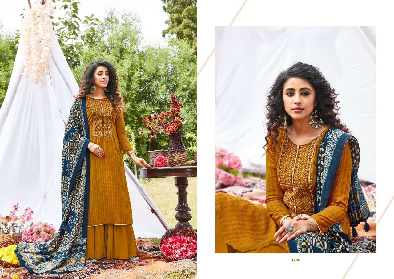Siddhi Sagar Ajrakh Pashmina Print With Fancy Embroidery Work Dress Material Collection 04