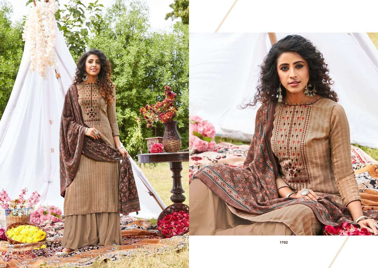Siddhi Sagar Ajrakh Pashmina Print With Fancy Embroidery Work Dress Material Collection 05