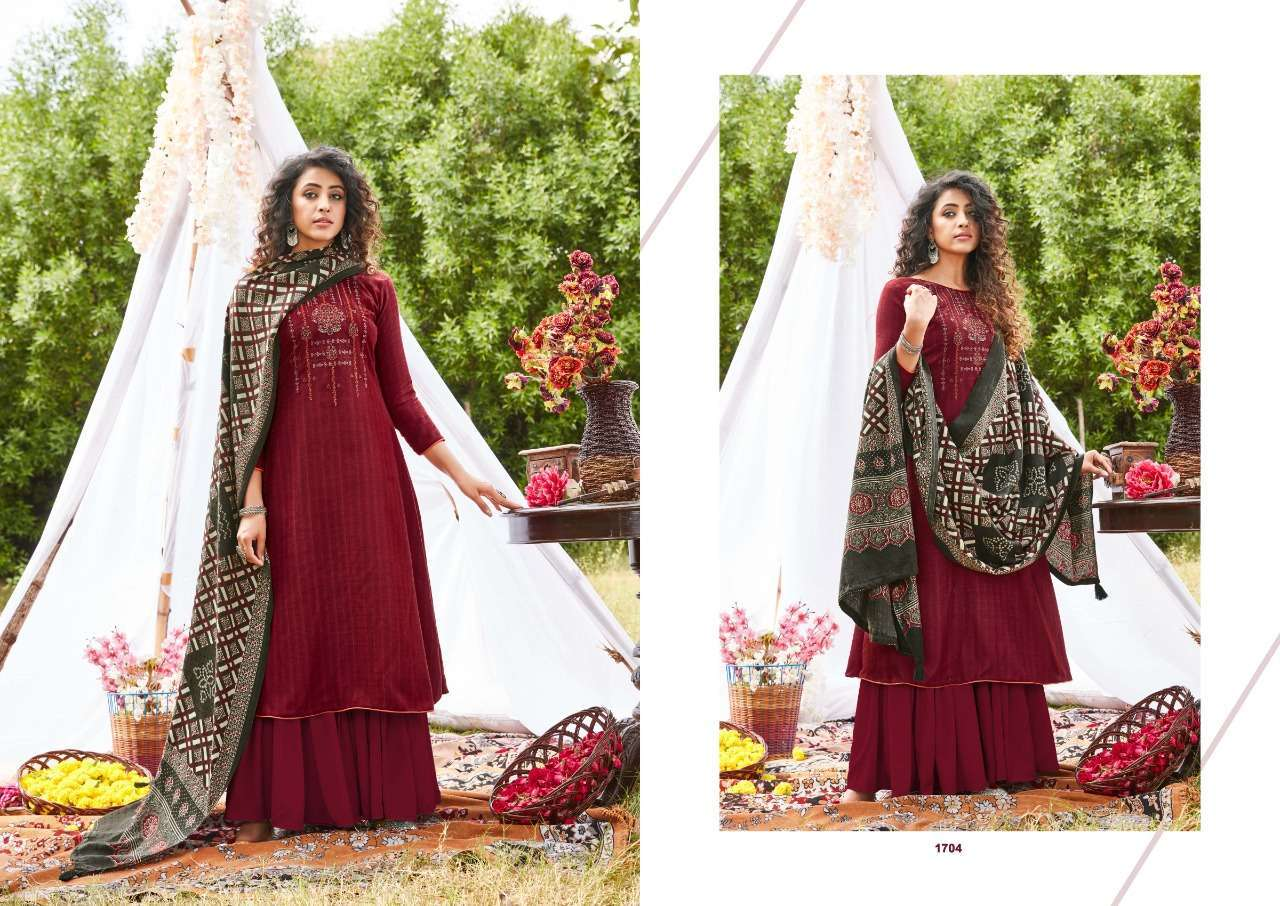 Siddhi Sagar Ajrakh Pashmina Print With Fancy Embroidery Work Dress Material Collection 06