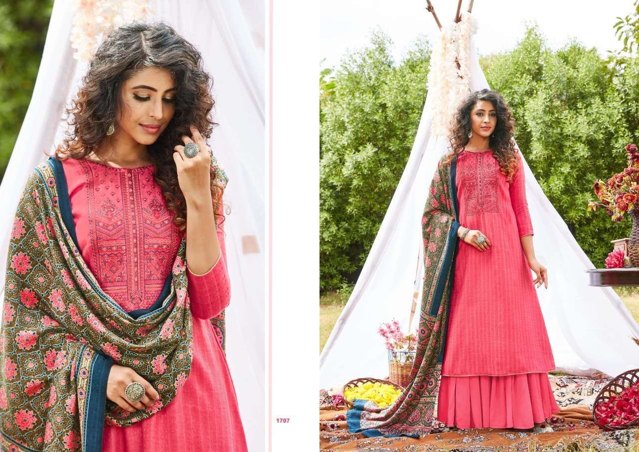 Siddhi Sagar Ajrakh Pashmina Print With Fancy Embroidery Work Dress Material Collection 07