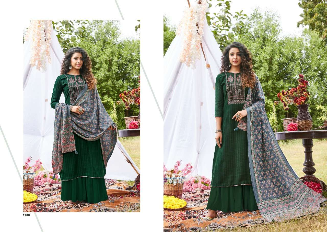 Siddhi Sagar Ajrakh Pashmina Print With Fancy Embroidery Work Dress Material Collection 08