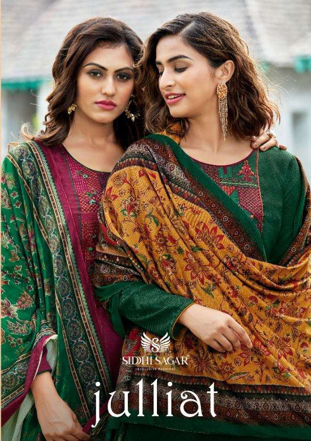 Siddhi Sagar Julliat Pashmina Digital print With Embroidery Work Dress Material Collection