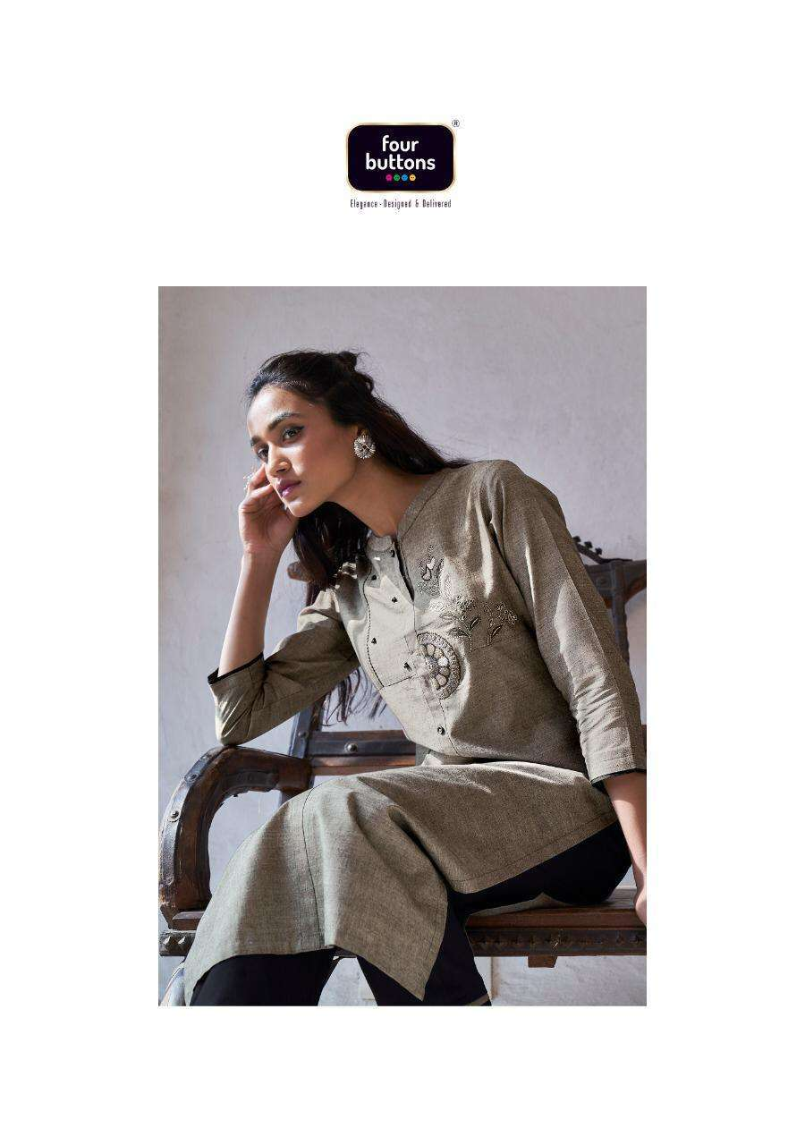 SILVER VOL 7 BY FOUR BUTTONS COTTON WORK KURTI WITH PANT COLLECTION WHOLESALER