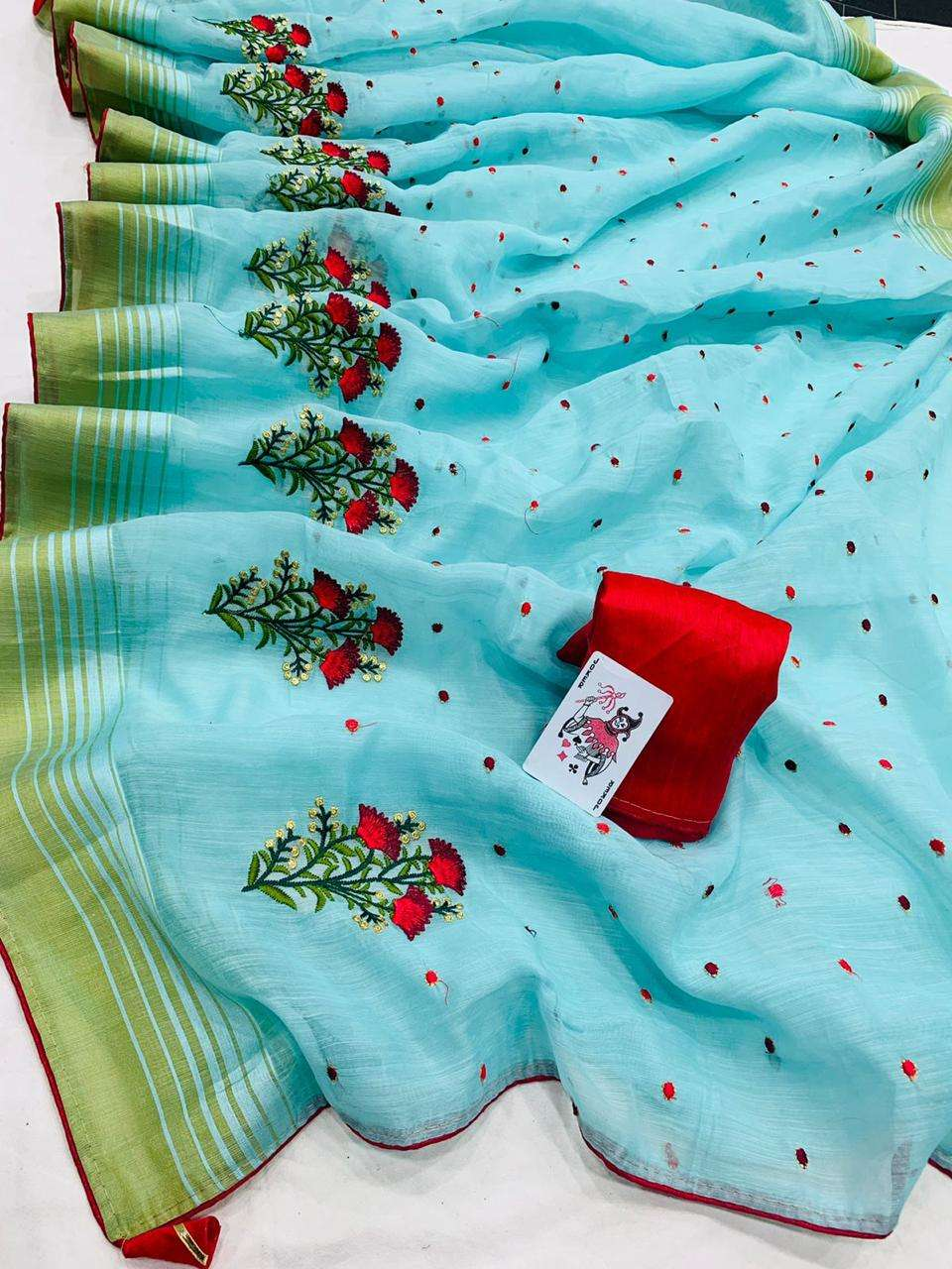SOFT COTTON WITH STYLESH BORDER PARTY WEAR SAREE COLLECTION