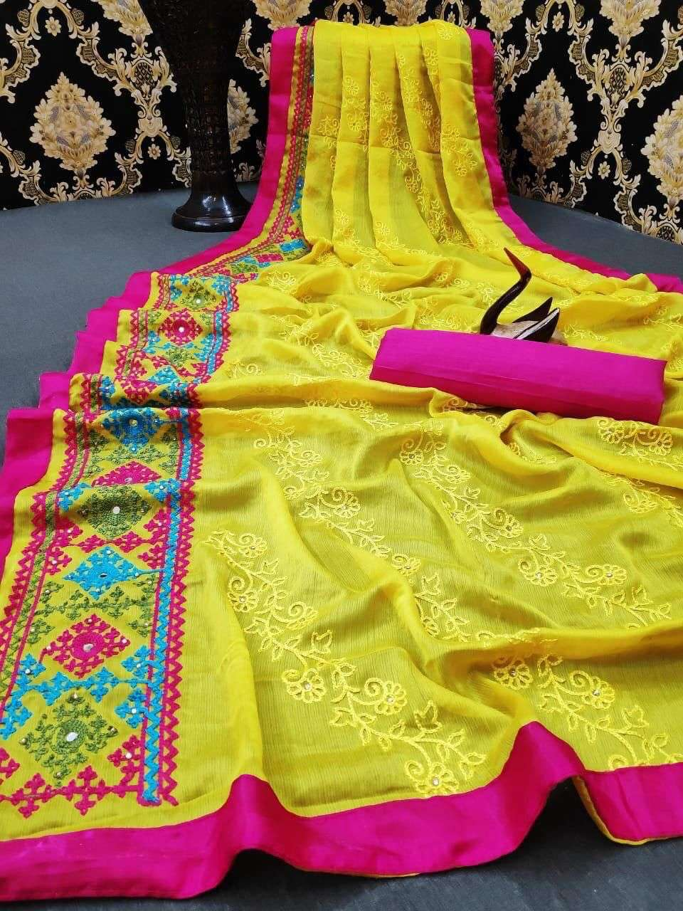 SOFT MOSS CHIFFON WITH MULTI EMBROIDERY WORK SAREE COLLECTION