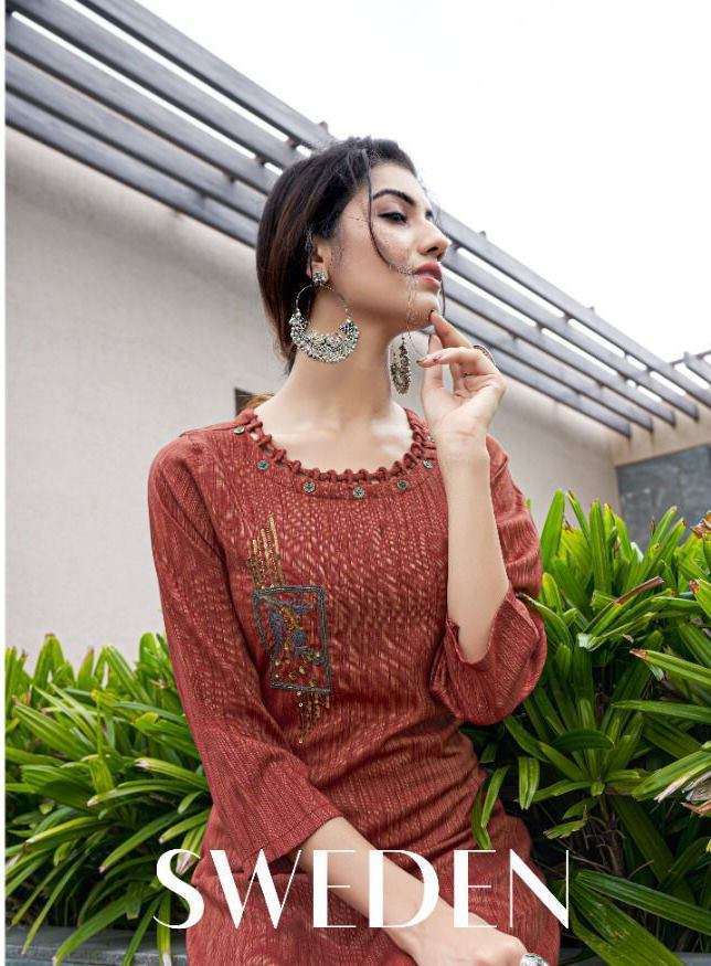 SWEETY FASHION SWEDEN FANCY RAYON WITH WORK KURTIS COLLECTION