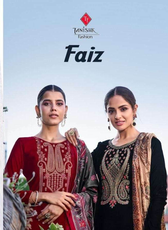 Tanishk Fashion Faiz Pure Velvet With Coding Embroidery Work Pashmina Suits