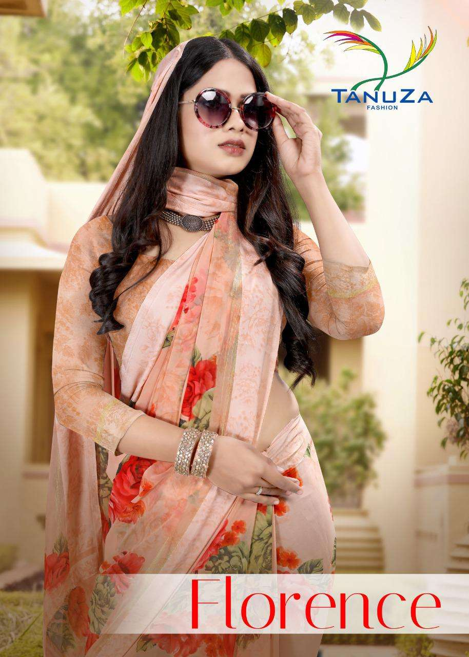 Tanuza fashion Florence Georgette With Satin Border Sarees Collection
