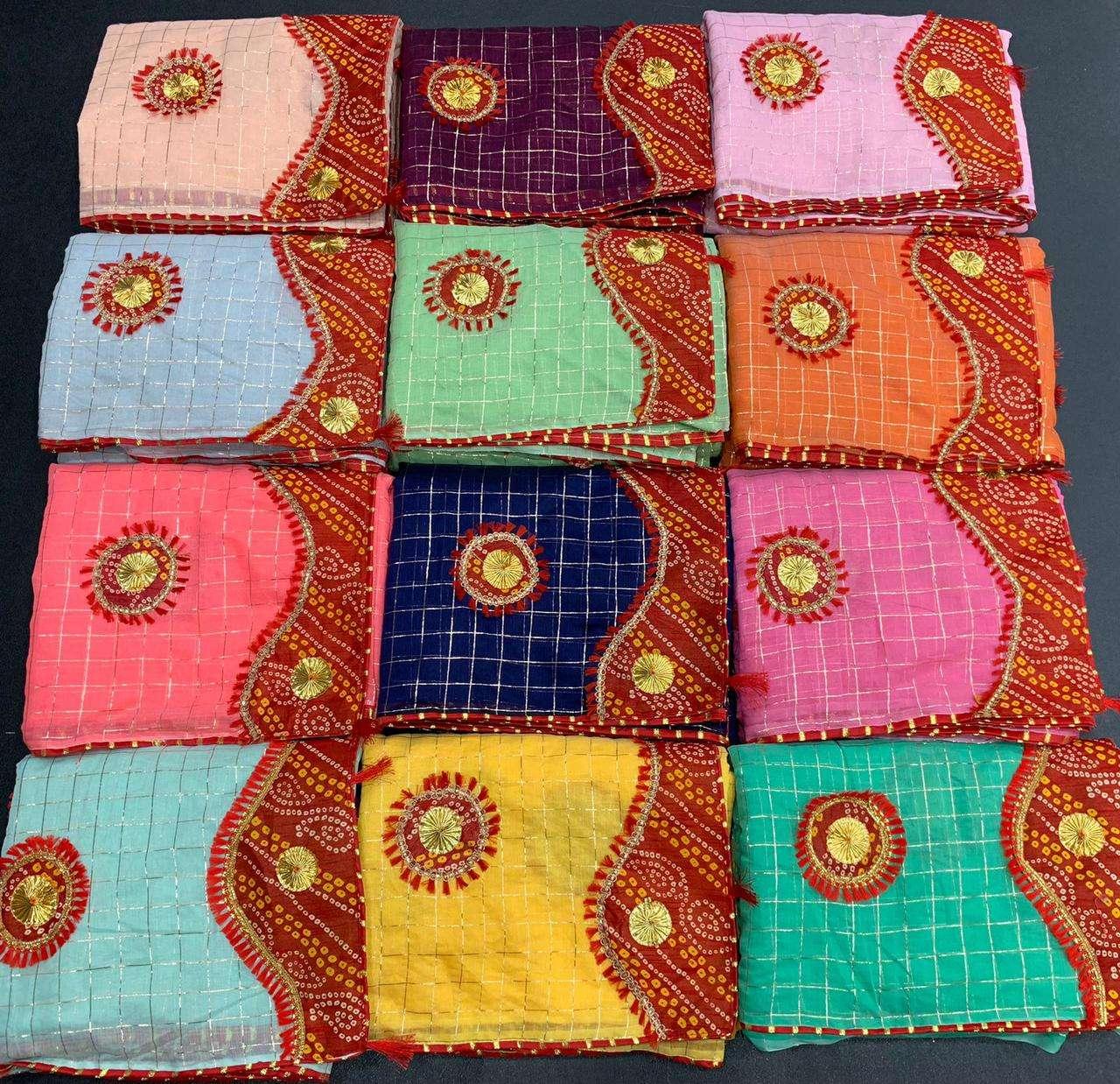 Traditional bandhani saree cotton checks saree supplier