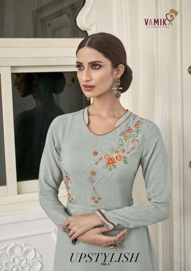 Vamika NX Upstylish Vol 3 Viscose Muslin Silk Embroidery Khatli work Kurtis collection