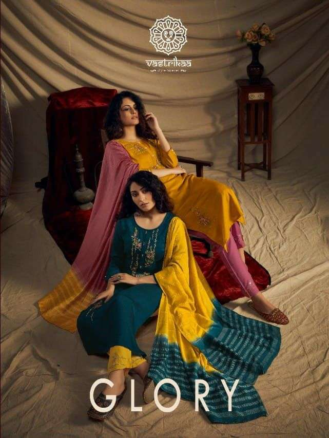 Vastrikaa Glory Silk With Embroidery hand Work Kurti With Pant Dupatta Collection
