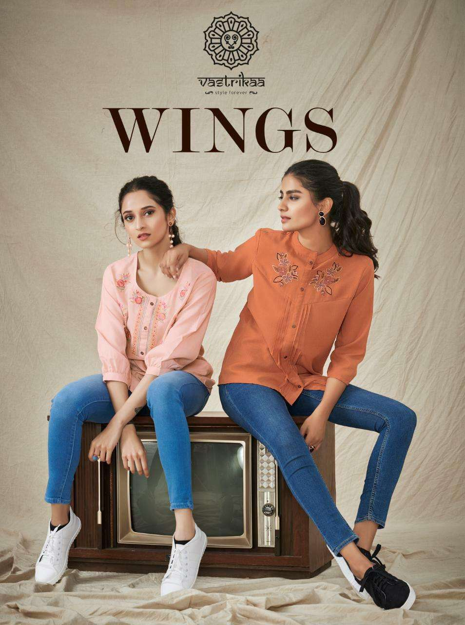Vastrikaa Wings Blended Fancy With Embroidery Work Short Western tops