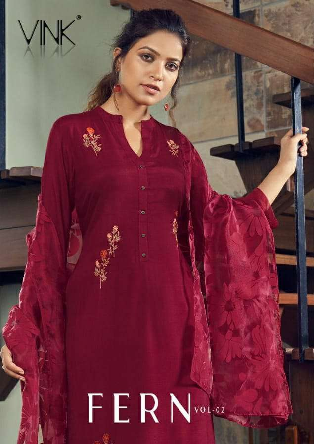 Vink Fern Vol 2 Pure viscose With Embroidery Work Kurti With Botton Dupatta Collection