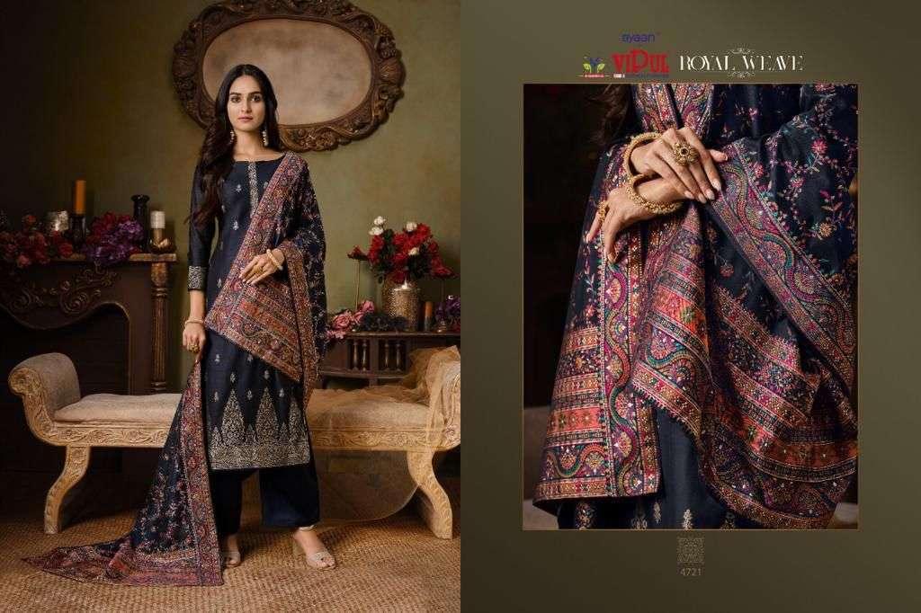 Vipul Royal Weave Silk Jacquard With Swarovski Work Salwar Kameez Collection 01