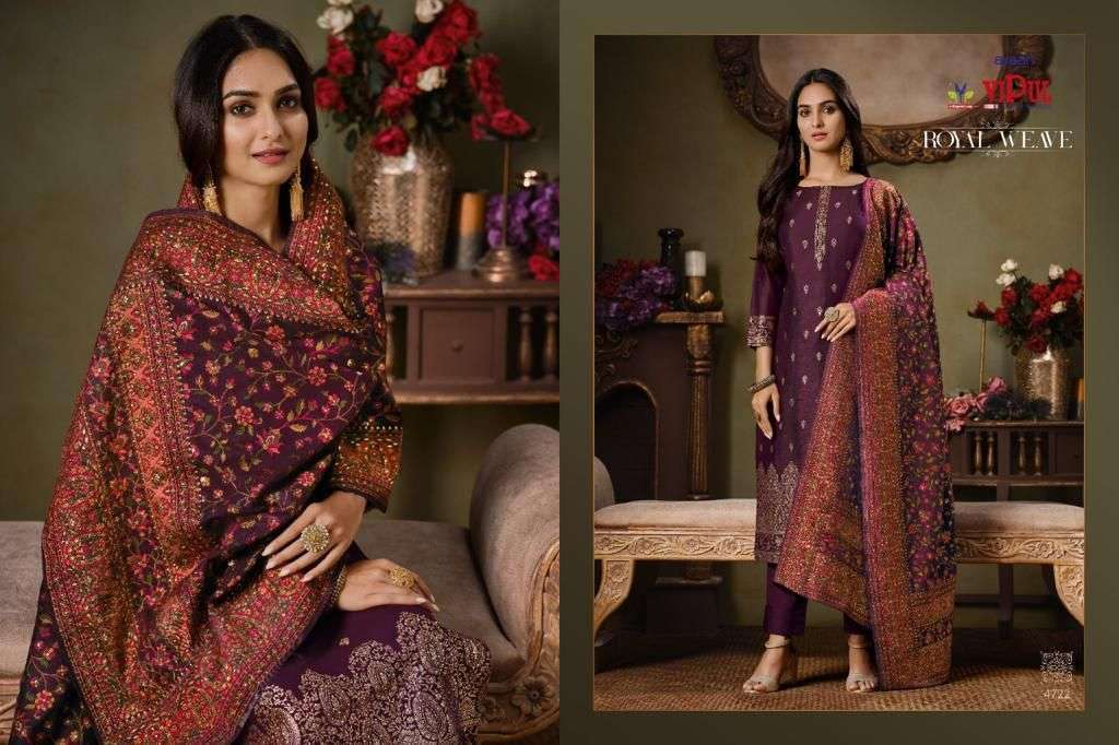 Vipul Royal Weave Silk Jacquard With Swarovski Work Salwar Kameez Collection 02