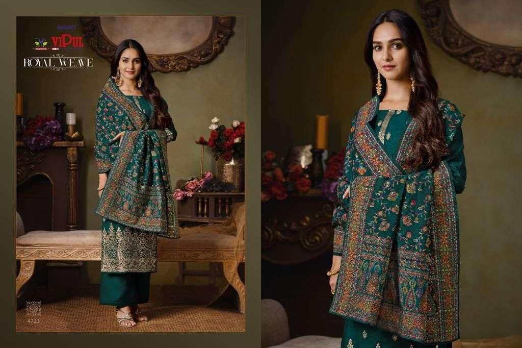 Vipul Royal Weave Silk Jacquard With Swarovski Work Salwar Kameez Collection 03