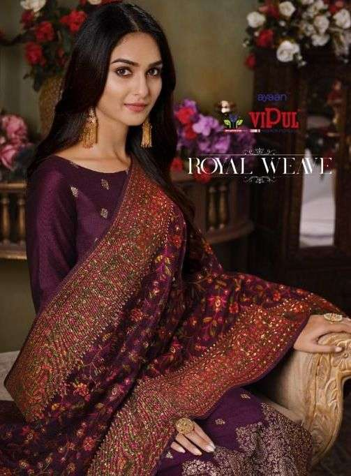 Vipul Royal Weave Silk jacquard With Swarovski Work Salwar Kameez Collection
