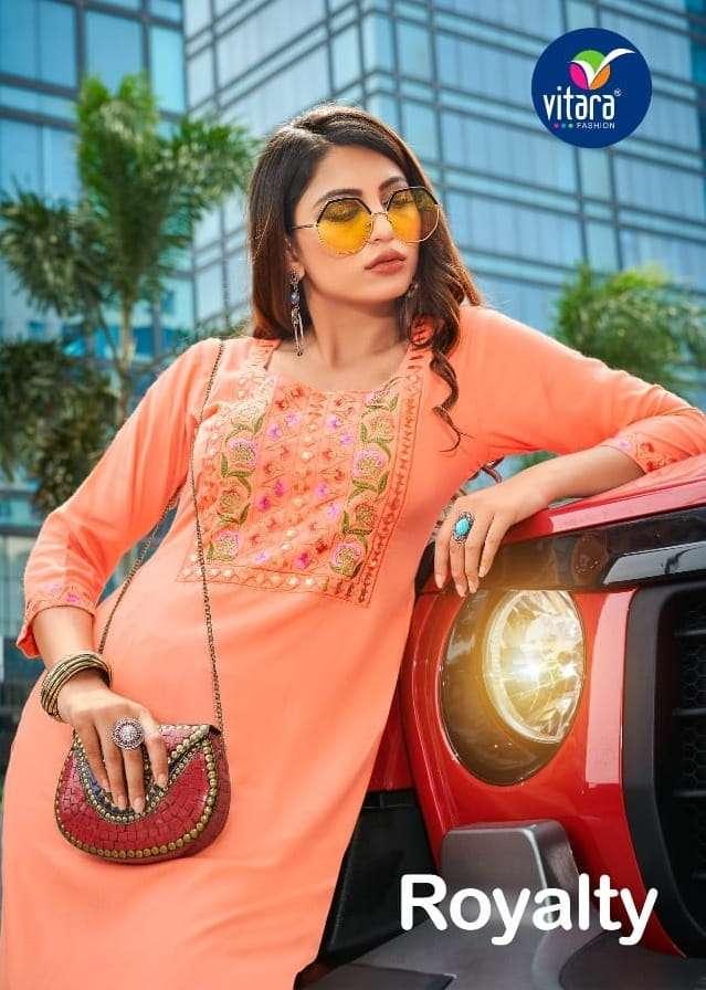 Vitara Fashion Royalty Rayon With Embroidery Work Kurtis Collection