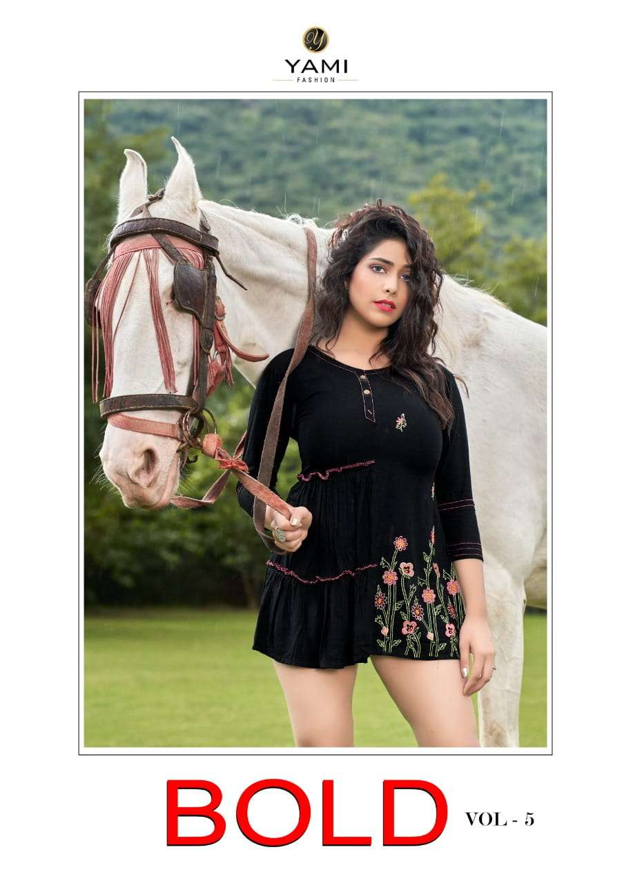 Yami fashion Bold Vol 5 Rayon With Embroidery work Short Tops Collection