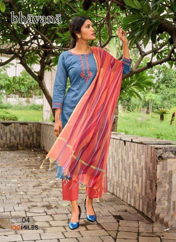 100 Miles Bhavana Cotton With Embroidery Work Kurti With pant dupatta Collection