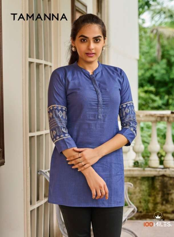 100 Miles Tamanna Cotton with embroidery work Short Tops collection