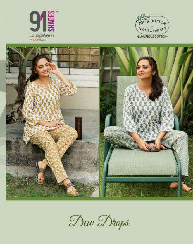 91 shades Dewdrops Cotton printed Night Suits collection